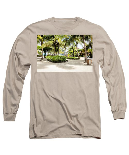 Long Sleeve T-Shirt featuring the photograph Tropical Courtyard by Lawrence Burry