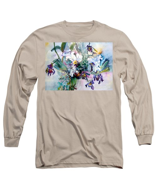 Tropical White Orchids Long Sleeve T-Shirt