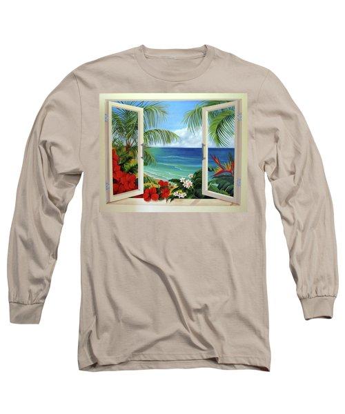 Tropical Window Long Sleeve T-Shirt by Katia Aho
