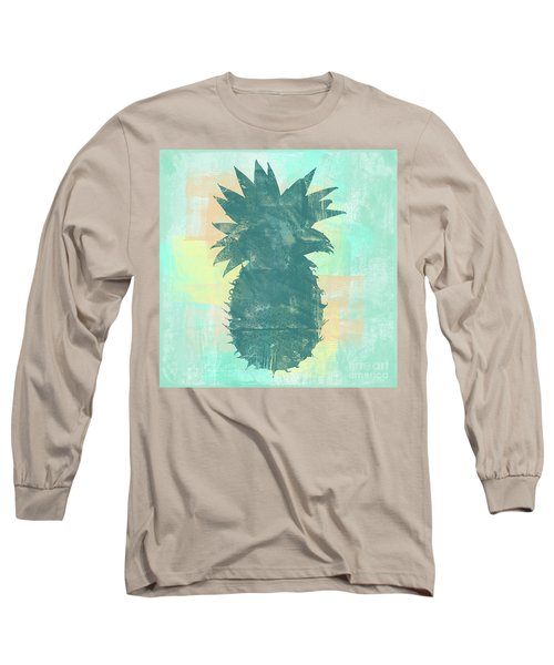 Tropicalifornia, Sponge Painted Abstract Tropical Pineapple Long Sleeve T-Shirt