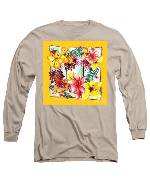 Long Sleeve T-Shirt featuring the photograph Tropicana On Yellow By Kaye Menner by Kaye Menner