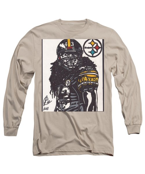 Long Sleeve T-Shirt featuring the drawing Troy Polomalu 1 by Jeremiah Colley