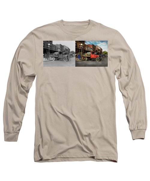 Long Sleeve T-Shirt featuring the photograph Truck - Home Dressed Poultry 1926 - Side By Side by Mike Savad