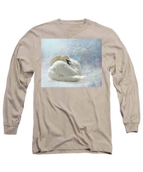 Trumpeter Textures #1 - Swan Feather Long Sleeve T-Shirt