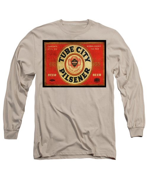 Long Sleeve T-Shirt featuring the digital art Tube City Pilsner by Greg Sharpe