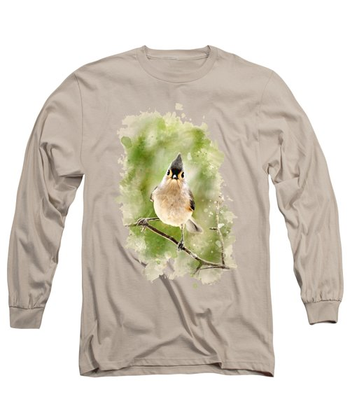 Long Sleeve T-Shirt featuring the mixed media Tufted Titmouse - Watercolor Art by Christina Rollo