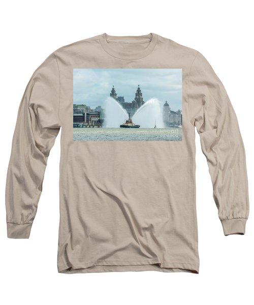 Tug Boat Fountain Long Sleeve T-Shirt