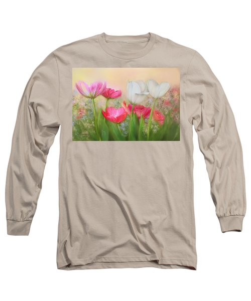 Long Sleeve T-Shirt featuring the painting Tulip Garden by Bonnie Willis