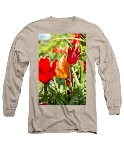 Long Sleeve T-Shirt featuring the photograph Tulip - The Orange One 02 by Arik Baltinester