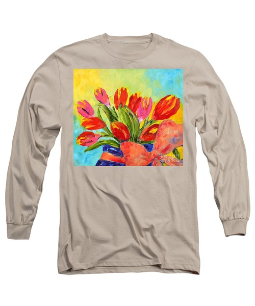 Tulips Tied Up Long Sleeve T-Shirt by Lynda Cookson