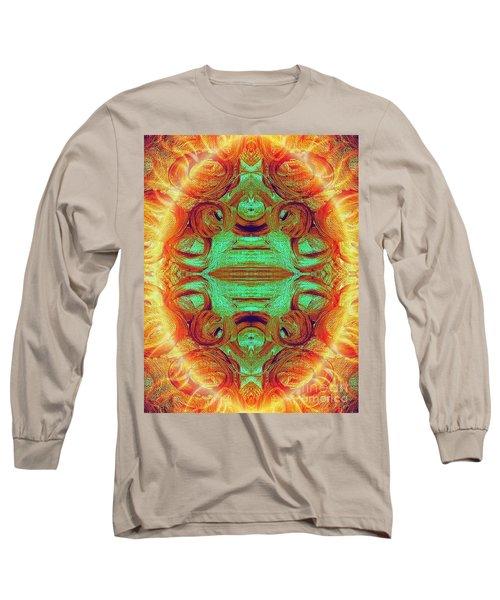 Turquoise Fire Long Sleeve T-Shirt by Rachel Hannah