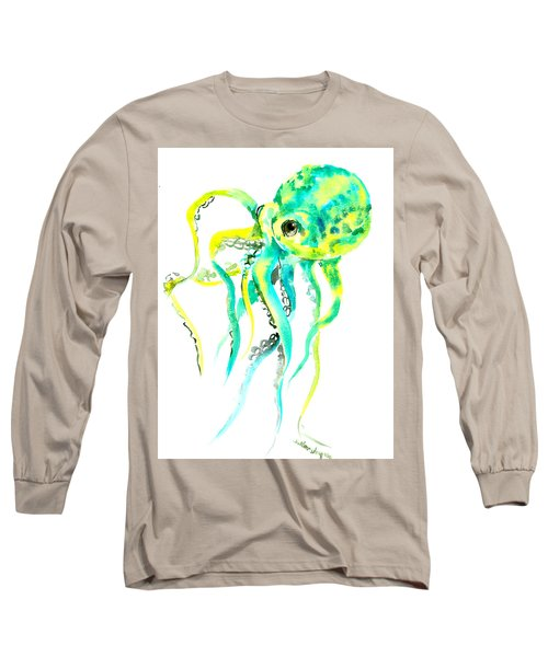 Turquoise Green Octopus Long Sleeve T-Shirt