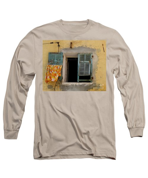Turquoise Shuttered Window Long Sleeve T-Shirt