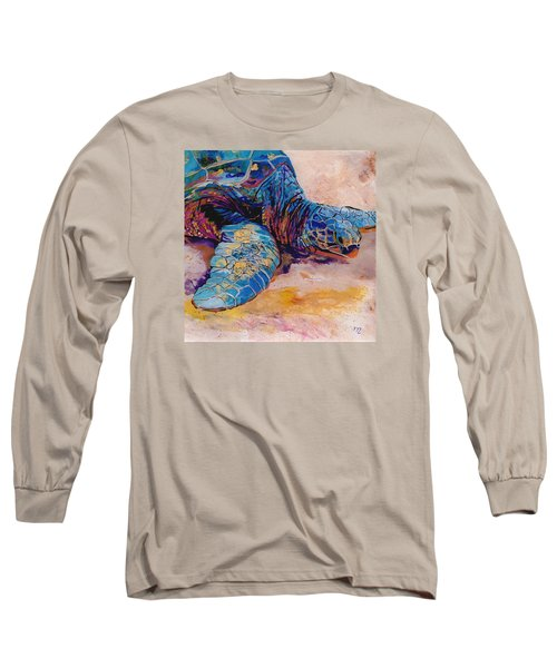 Long Sleeve T-Shirt featuring the painting Turtle At Poipu Beach 6 by Marionette Taboniar