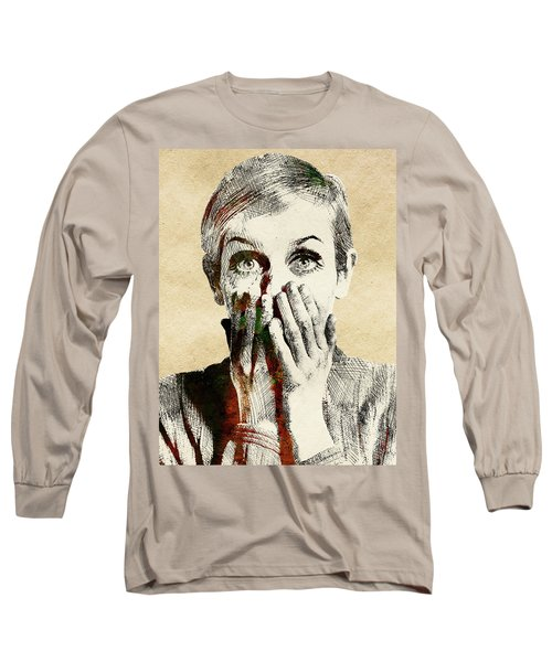 Twiggy Surprised Long Sleeve T-Shirt by Mihaela Pater