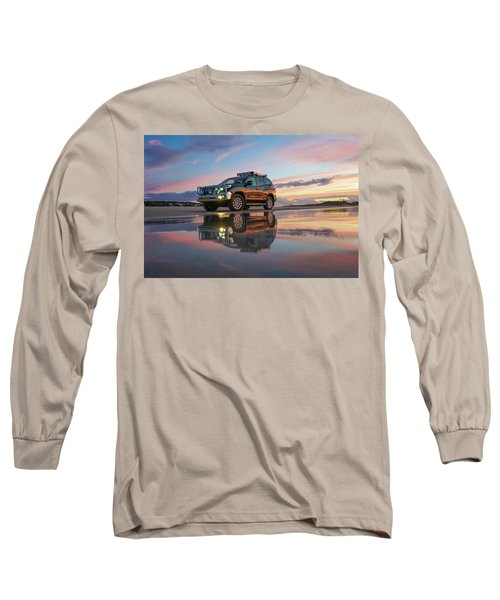 Twilight Beach Reflections And 4wd Car Long Sleeve T-Shirt