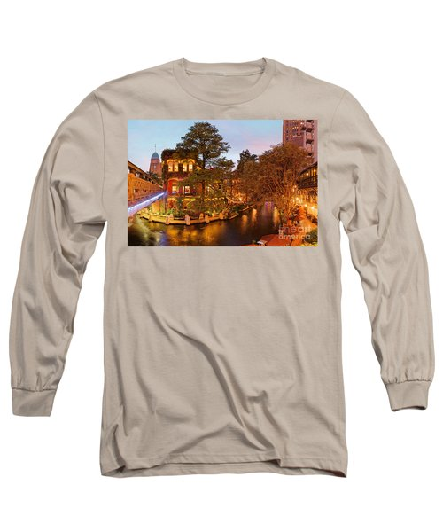 Twilight Captured Over The San Antonio Riverwalk And Presa Street Bridge - Bexar County Texas Long Sleeve T-Shirt