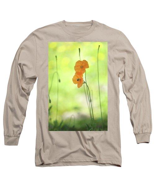 Twins. Orange Poppies Long Sleeve T-Shirt