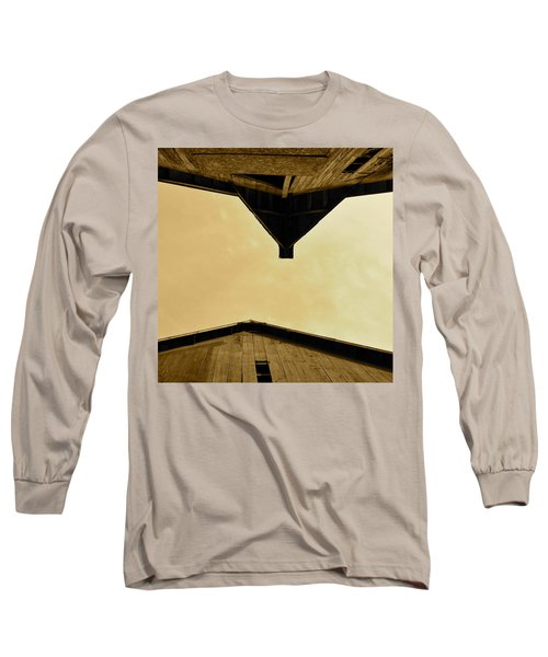 Two Barns In Sepia Long Sleeve T-Shirt by JD Grimes