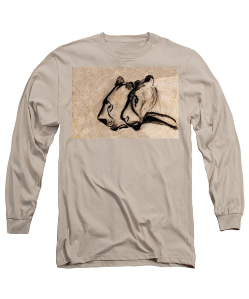Two Chauvet Cave Lions - Clear Version Long Sleeve T-Shirt