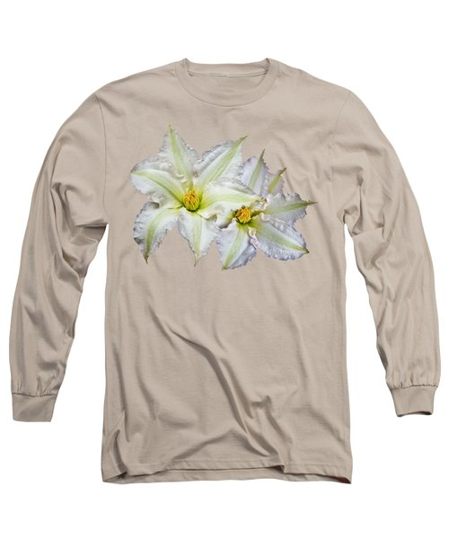 Long Sleeve T-Shirt featuring the photograph Two Clematis Flowers On Pale Purple by Jane McIlroy