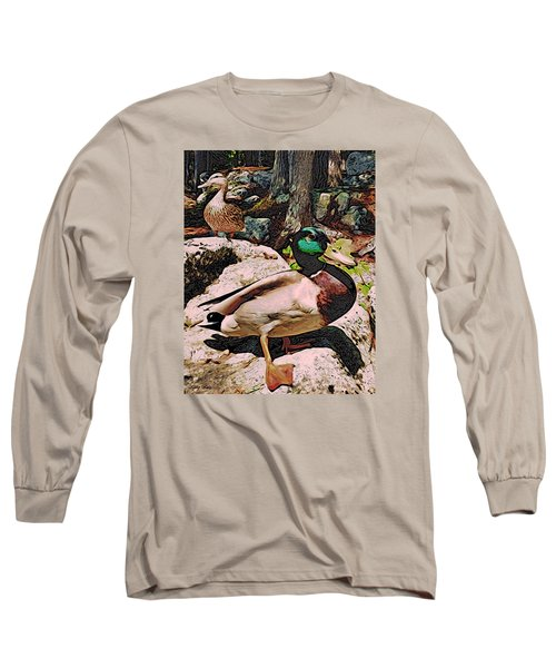 Long Sleeve T-Shirt featuring the photograph Ducks -dynamic Duo by Kathy Kelly