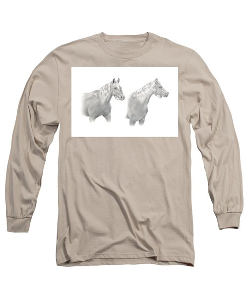 Long Sleeve T-Shirt featuring the drawing Two Horse Study by Elizabeth Lock