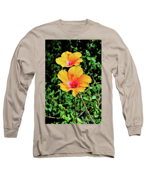 Two Long Stemmed Hibiscus Long Sleeve T-Shirt