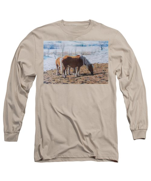 Two Ponies In The Snow Long Sleeve T-Shirt