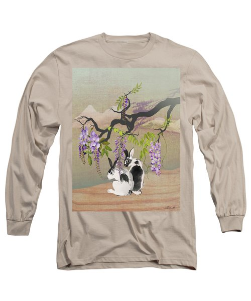 Two Rabbits Under Wisteria Tree Long Sleeve T-Shirt