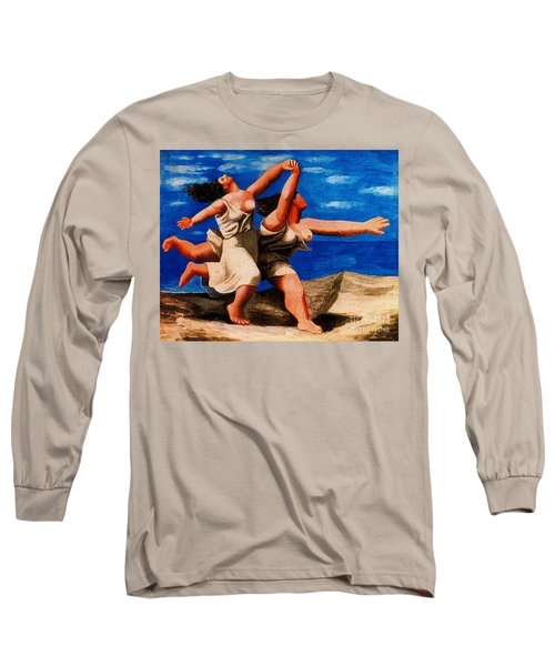 Two Women Running On The Beach Long Sleeve T-Shirt