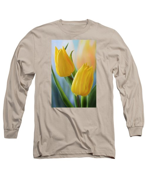 Two Yellow Spring Tulips Long Sleeve T-Shirt by Terence Davis
