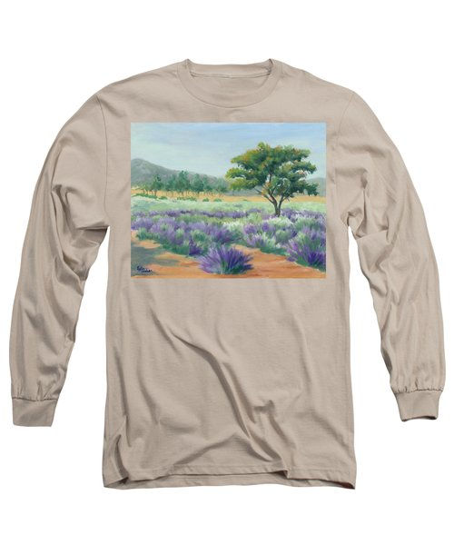 Long Sleeve T-Shirt featuring the painting Under Blue Skies In Lavender Fields by Sandy Fisher