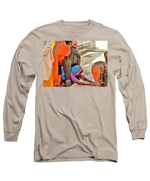 Long Sleeve T-Shirt featuring the photograph Under The Elephant - Narmada Temple At Arkantak India by Kim Bemis