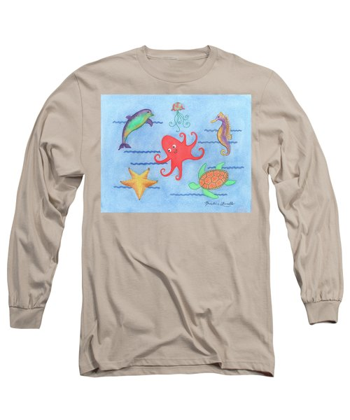 Under The Sea, Red Octopus Long Sleeve T-Shirt