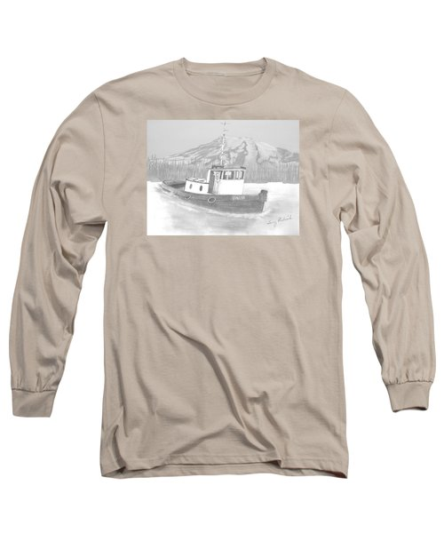 Long Sleeve T-Shirt featuring the drawing Tugboat Union by Terry Frederick