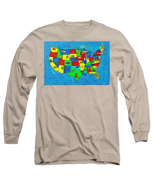 Us Map With Theme  - Van Gogh Style -  - Da Long Sleeve T-Shirt