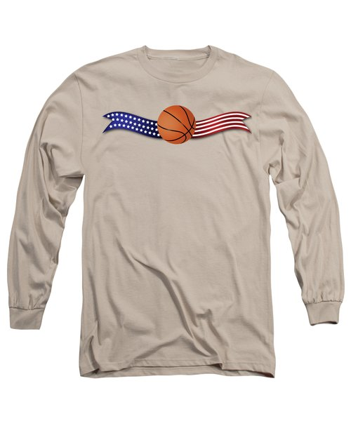 Long Sleeve T-Shirt featuring the digital art Usa Basketball by Ericamaxine Price
