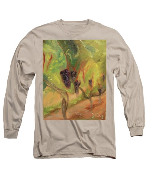 Long Sleeve T-Shirt featuring the painting Valhalla Vineyard by Donna Tuten