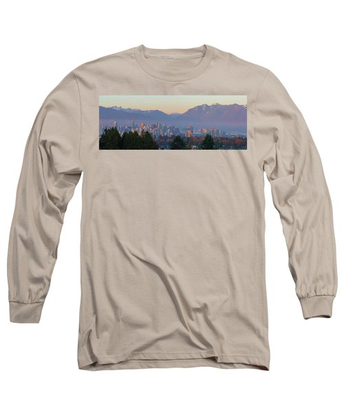 Vancouver Bc Downtown Cityscape At Sunset Panorama Long Sleeve T-Shirt
