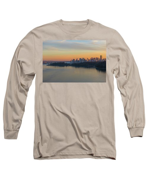 Vancouver Bc Skyline And Stanley Park At Sunset Long Sleeve T-Shirt