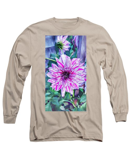 Variegated Dahlia In Oil Long Sleeve T-Shirt