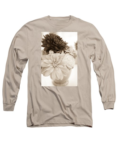 Vase Of Flowers In Sepia Long Sleeve T-Shirt by Joni Eskridge