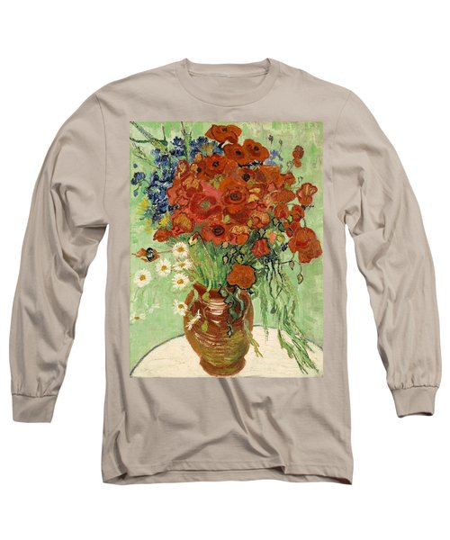 Long Sleeve T-Shirt featuring the painting Vase With Daisies And Poppies by Van Gogh