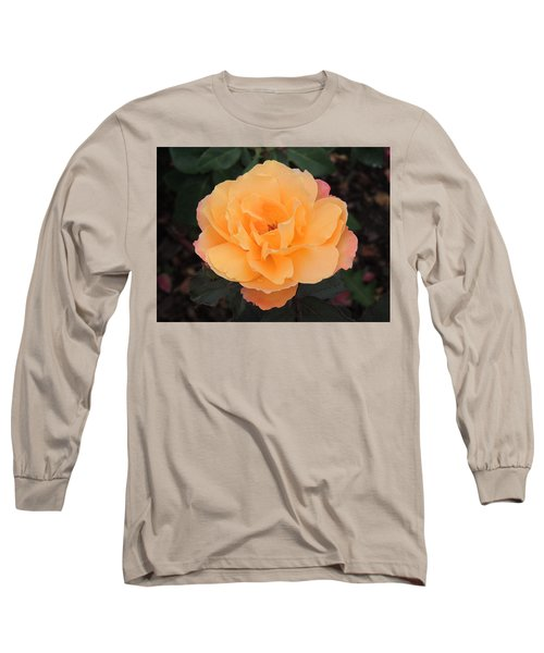 Velvety Orange Rose Long Sleeve T-Shirt by Teresa Schomig