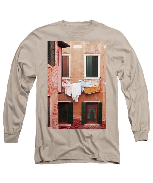 Long Sleeve T-Shirt featuring the photograph Venetian Laundry In Peach And Pink by Brooke T Ryan
