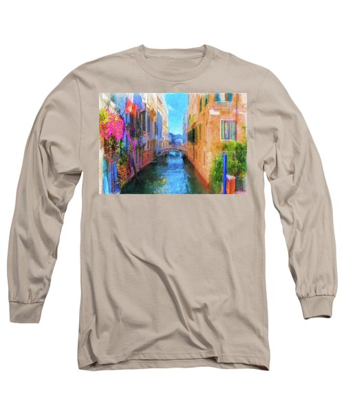 Venice Canal Painting Long Sleeve T-Shirt by Michael Cleere