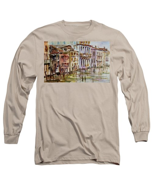 Long Sleeve T-Shirt featuring the painting Venice Impression II by Xueling Zou