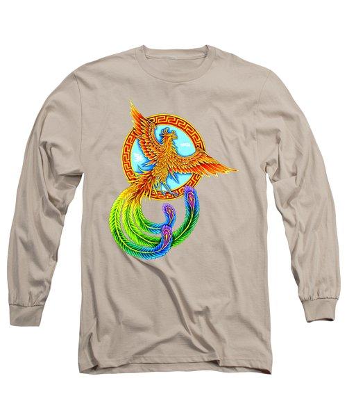 Vermilion Bird Long Sleeve T-Shirt by Rebecca Wang