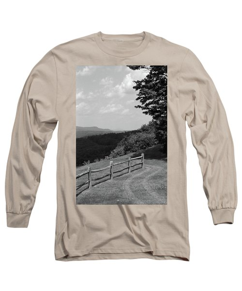 Long Sleeve T-Shirt featuring the photograph Vermont Countryside 2006 Bw by Frank Romeo